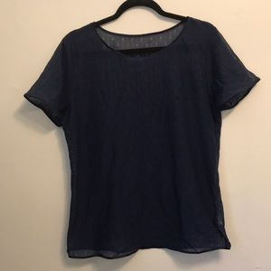 Dark blue. No tags. See-thru t shirt.